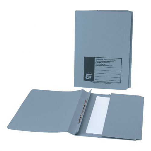 5 Star Office Flat Bar Pocket File Recycled Manilla 285gsm Capacity 200 Sheets Foolscap Blue [Pack 25]