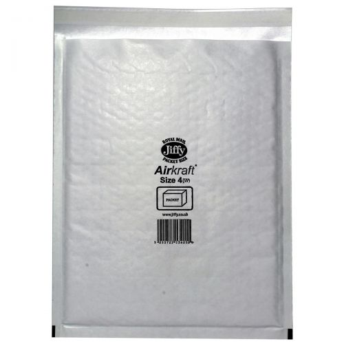 Jiffy Airkraft Postal Bags Bubble-lined Peel and Seal Size 4 240x320mm White Ref JL-AMP-4-10 [Pack 10]
