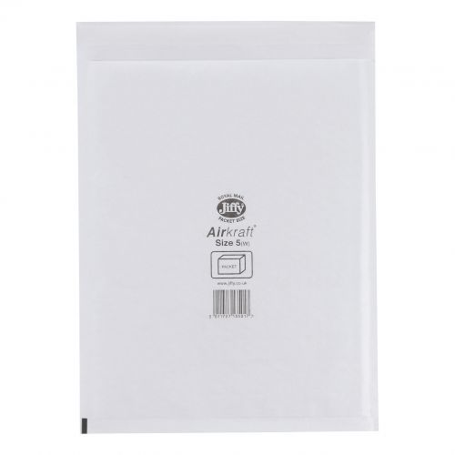 Jiffy Airkraft Postal Bags Bubble-lined Size 5 Peel and Seal 260x345mm White Ref JL-AMP-5-10 [Pack 10]