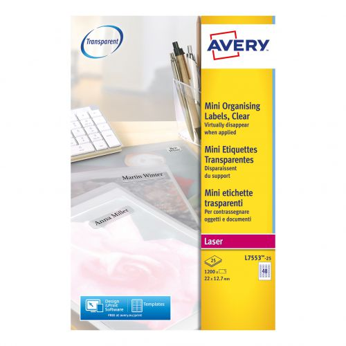 Avery Mini Multipurpose Labels Laser 48 per Sheet 22x12.7mm Clear Ref L7553-25 [1200 Labels]