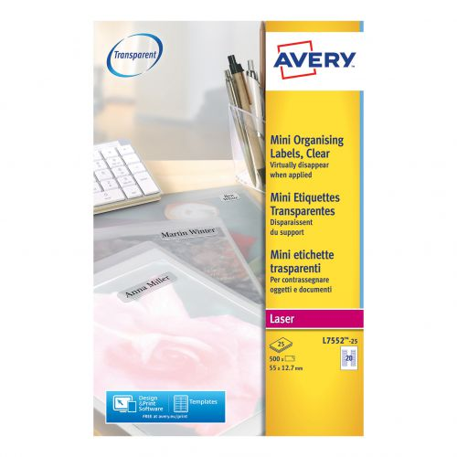 Avery Mini Multipurpose Labels Laser 20 per Sheet 55x12.7mm Clear Ref L7552-25 [500 Labels]
