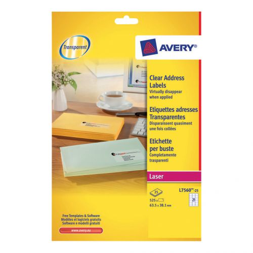 Avery Addressing Labels Laser 21 per Sheet 63.5x38.1mm Clear Ref L7560-25 [525 Labels]