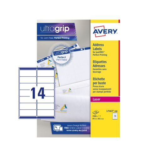 Avery Addressing Labels Laser Jam-free 14 per Sheet 99.1x38.1mm White Ref L7163-500 [7000 Labels]