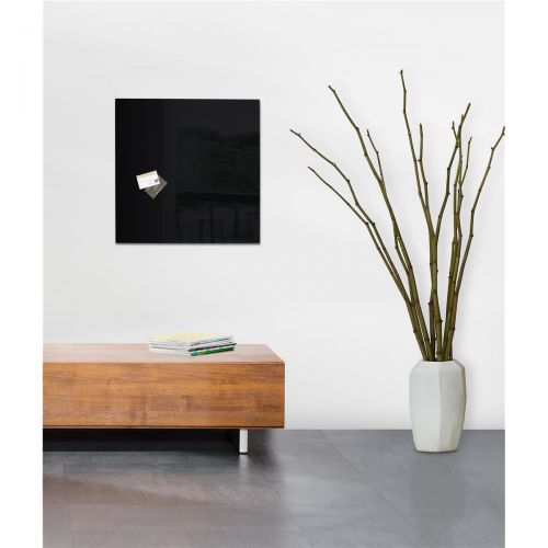 Sigel Artverum High Quality Tempered Glass Magnetic Board With Fixings 480x480mm Black Ref GL110