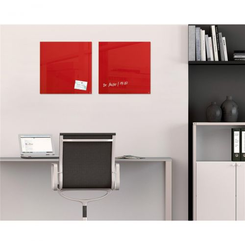 Sigel Artverum High Quality Tempered Glass Magnetic Board With Fixings 480x480mm Red Ref GL114