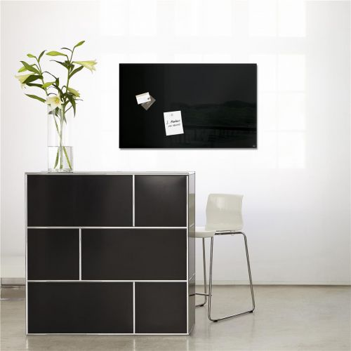 Sigel Artverum High Quality Tempered Glass Magnetic Board With Fixings 780x480mm Black Ref GL130
