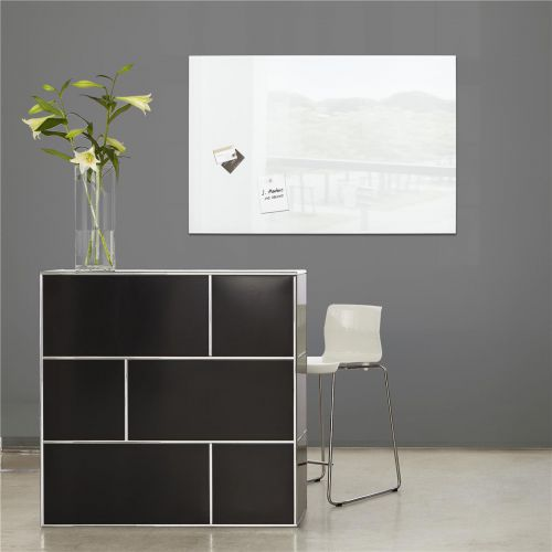 Sigel Artverum High Quality Tempered Glass Magnetic Board With Fixings 780x480mm White Ref GL131