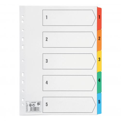 5 Star Office Index 1-5 Multipunched Mylar-reinforced Multicolour-Tabs 150gsm A4 White