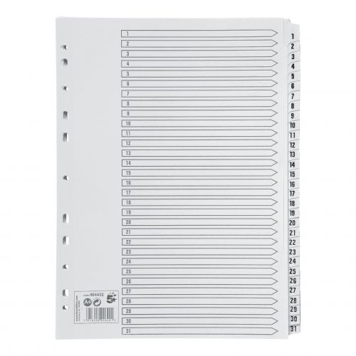 5 Star Office Index 1-31 Multipunched Mylar-reinforced Strip Tabs 150gsm A4 White