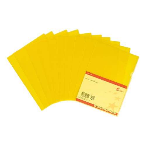 5 Star Office Folder Embossed Cut Flush Polypropylene Copy-safe Translucent 110 Micron A4 Yellow [Pack25]
