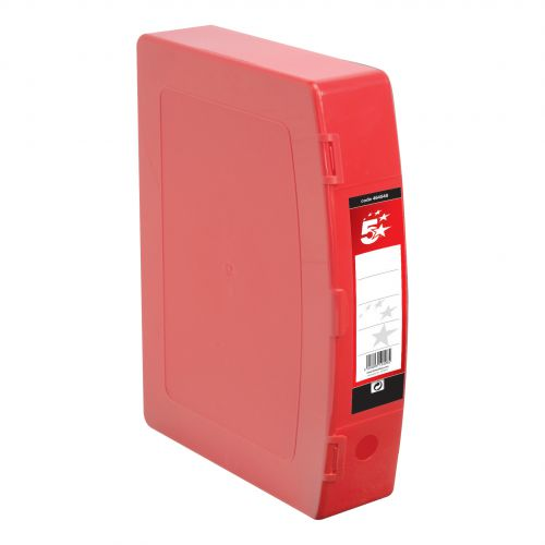5 Star Office Box File 75mm Spine Polypropylene Twin Clip Lock Foolscap Red