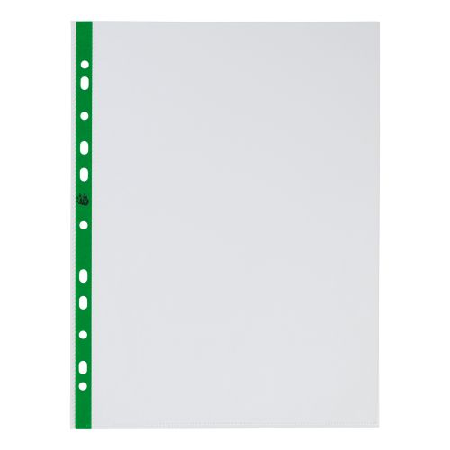 5 Star Office Punched Pocket Polypropylene Green Strip Top-opening 50 Micron A4 Glass Clear [Pack 100]