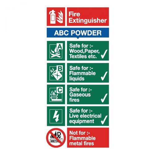 Stewart Superior ABC Dry Powder Fire Extinguisher SafetySign W100xH200mm Self-adhesive Vinyl Ref FF092SAV