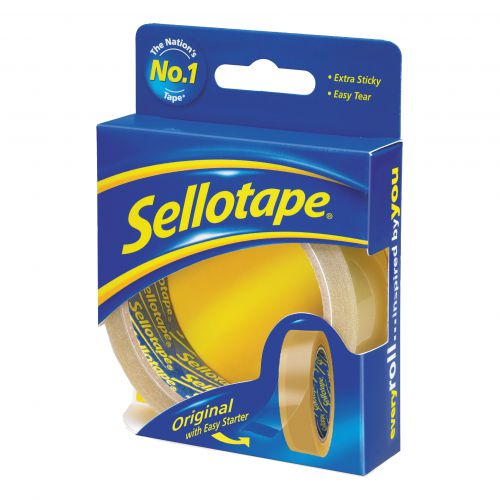 Sellotape Original Golden Tape Roll Non-static Easy-tear Retail Pack 24mmx50m Ref 1443266 [Pack 6]
