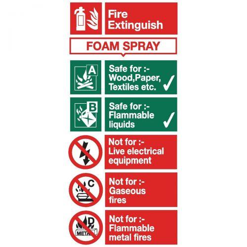 Stewart Superior Foam Spray Fire Extinguisher Safety Sign W100xH200mm Self-adhesive Vinyl Ref FF094SAV