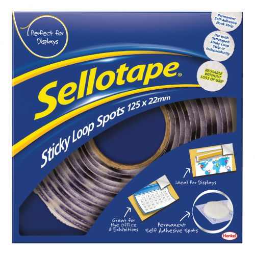 Sellotape Permanent Sticky Loop Spots in Handy Dispenser of 125 Spots Diameter 22mm each White Ref1445181