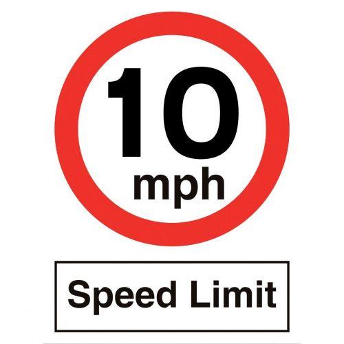 Stewart Superior 10MPH Speed Limit Sign Outdoor Use W450xH600mm Polypropylene Ref KS012PP