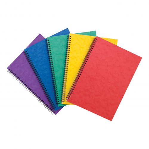 Notebook Side Wirebound 80gsm Ruled and Perforated 120pp A4 Assorted Colour A [Pack 10]