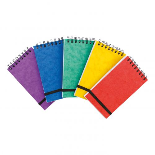 Note Pad Headbound Twin Wire 80gsm Ruled/Perfd/Elastic Strap 120pp 76x127mm Asstd Colours A [Pack 20]