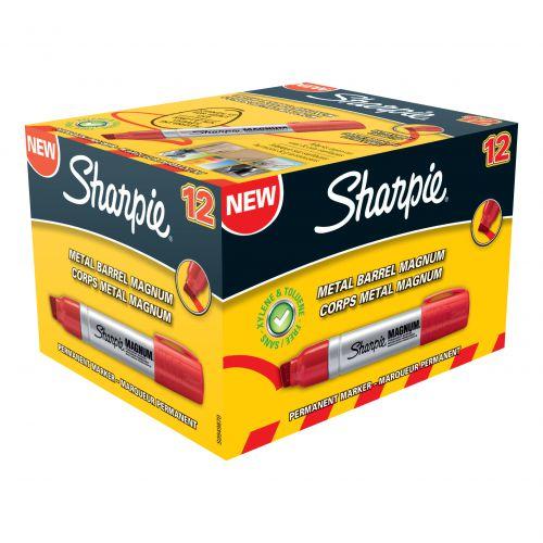 Sharpie Pro Magnum Permanent Marker Large Chisel Tip 14.8mm Line Red Ref S0949870 [Pack 12]