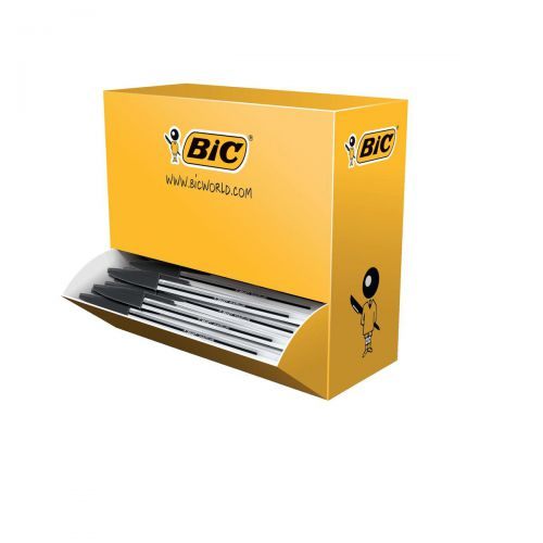 Bic Cristal Ball Pen Clear Barrel 1.0mm Tip 0.32mm Line Black Ref 942911 [Pack 90 plus 10 FREE]