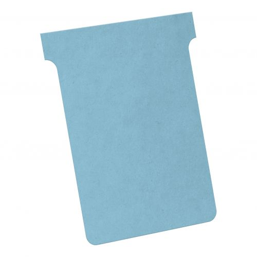Nobo T-Cards 160gsm Tab Top 15mm W93x Bottom W80x Full H120mm Size 3 Light Blue Ref 2003006 [Pack 100]