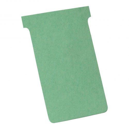 Nobo T-Cards 160gsm Tab Top 15mm W123x Bottom W112x Full H178mm Size 4 Green Ref 32938924 [Pack 100]