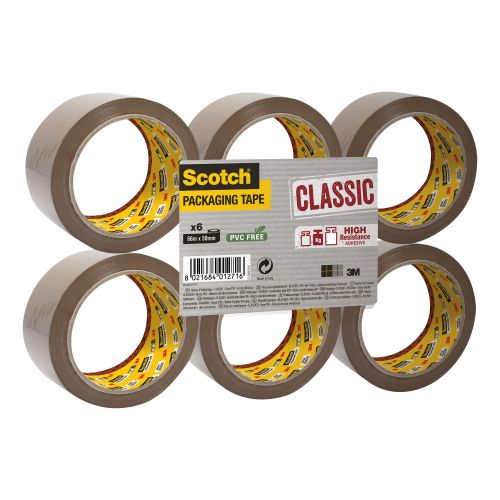 Scotch Classic Packaging Tape 50mmx66m Buff Ref CL5066F6B [Pack 6]