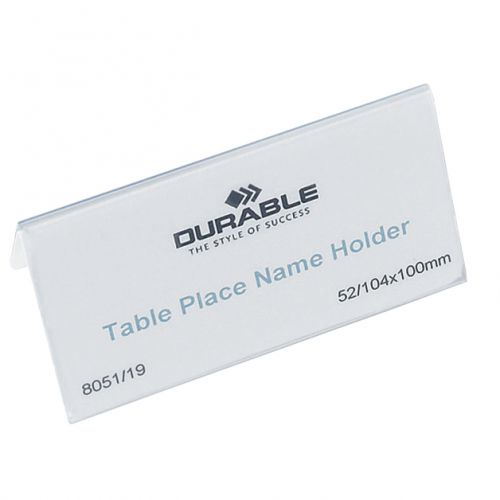Durable Table Place Name Holder 52x100mm Clear Ref 8051 [Pack 25]