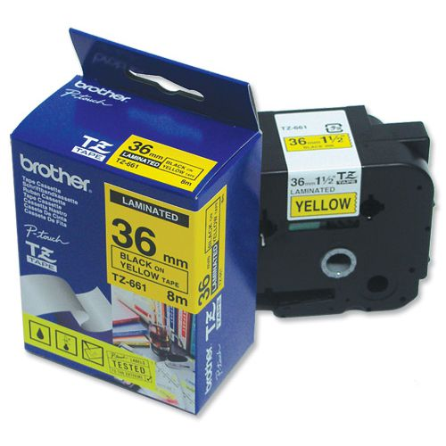 Brother P-touch TZE Label Tape 36mmx8m Black on Yellow Ref TZE661