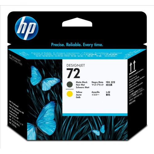 Hewlett Packard [HP] No.72 Inkjet Printhead Matte Black & Yellow Ref C9384A