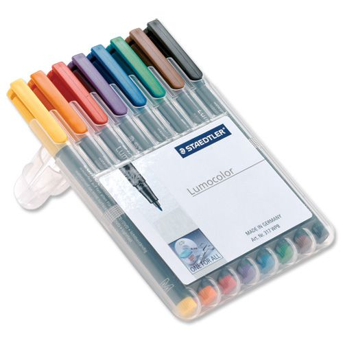 Staedtler 316 Lumocolor Pen Non-permanent Fine 0.6mm Line Assorted Ref 316WP8 [Wallet 8]