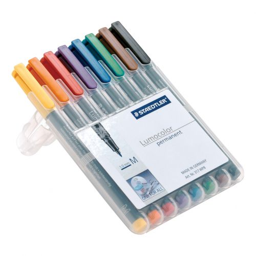 Staedtler 318 Lumocolor Permanent Pen Fine 0.6mm Line Wallet Assorted Colours Ref 318WP8 [Pack 8]