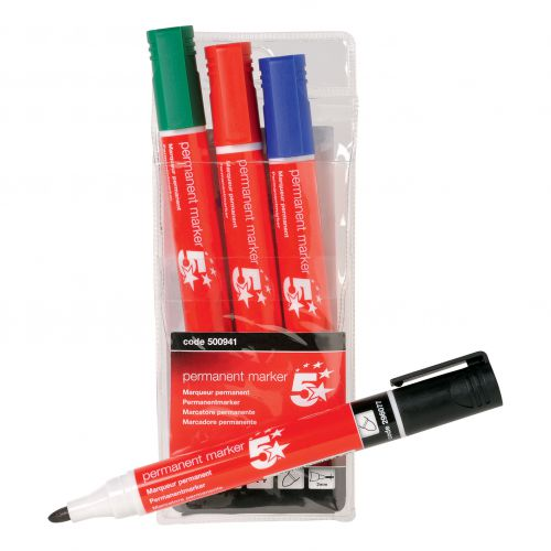 5 Star Office Permanent Marker Xylene/Toluene-free Smear proof Bullet Tip 2mm Line Assorted [Wallet 4]