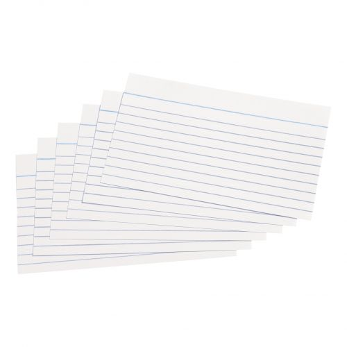 5 Star Office Record Cards Ruled Both Sides 5x3in 127x76mm White [Pack 100]