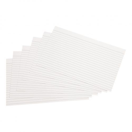 5 Star Office Record Cards Ruled Both Sides 8x5in 203x127mm White [Pack 100]