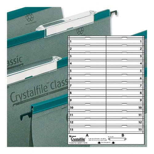Rexel Crystalfile Classic Linking Suspension File Card Inserts Extra-deep White Ref 78290 [Labels 26]