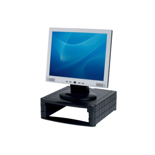 Monitor Screen Riser 34-100mm Storage Stackable 20kg Load Black