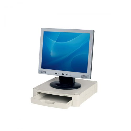 Monitor Screen Riser 67mm Stackable 1 Drawer 15kg Load Grey