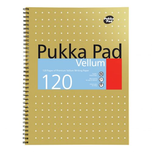 Pukka Pad Vellum Notebook Wirebound 80gsm Ruled Margin Perf Punched 4 Holes 120pp A4+ Ref VJM/1 [Pack 3]