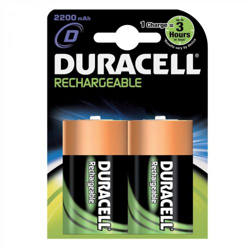 Duracell Battery Rechargeable Accu NiMH Capacity 2200mAh D Ref 81364737 [Pack 2]