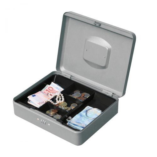 5 Star Facilities Premium Cash Box with Coin Tray Metal Combination Lock W300xD240xH90mm Grey