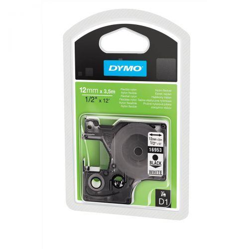 Dymo D1 Tape for Labelmaker Nylon Flexible 12mmx3.5m Black on White Ref 16957 S0718040