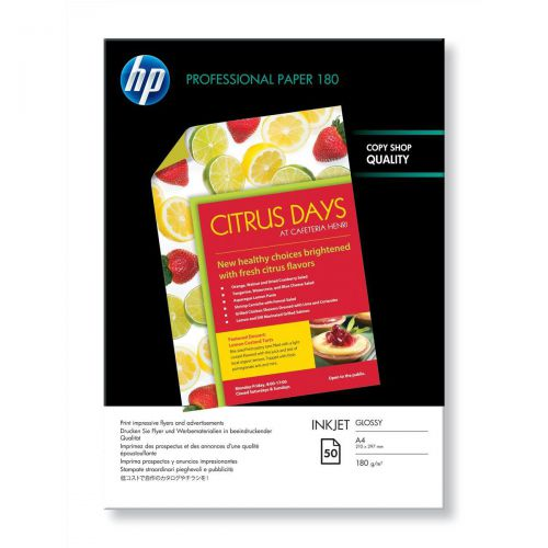 Hewlett Packard [HP] Professional Inkjet Paper Double-sided Glossy 180gsm A4 Ref C6818A [50 Sheets]