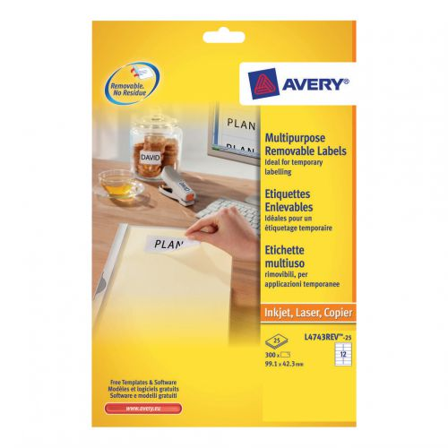 Avery Multipurpose Labels Removable Laser 12 per Sheet 99.1x42.3mm White Ref L4743REV-25 [300 Labels]