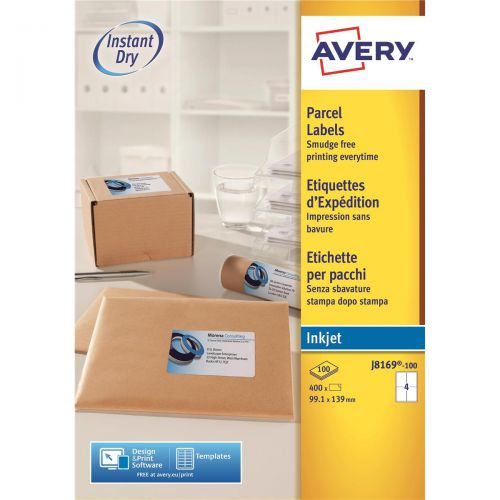 Avery Quick DRY Parcel Labels Inkjet 4 per Sheet 139x99.1mm White Ref J8169-100 [400 Labels]
