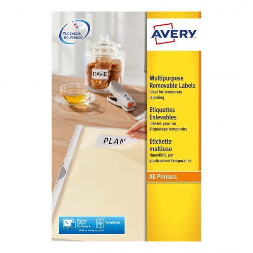 Avery Mini Multipurpose Labels Removable Laser 189 per Sheet 25.4x10mm White RefL4731REV-25 [4725 Labels]
