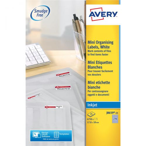 Avery Mini Multipurpose Labels Inkjet 270 per Sheet 17.8x10mm White Ref J8659REV-25 [6750 Labels]