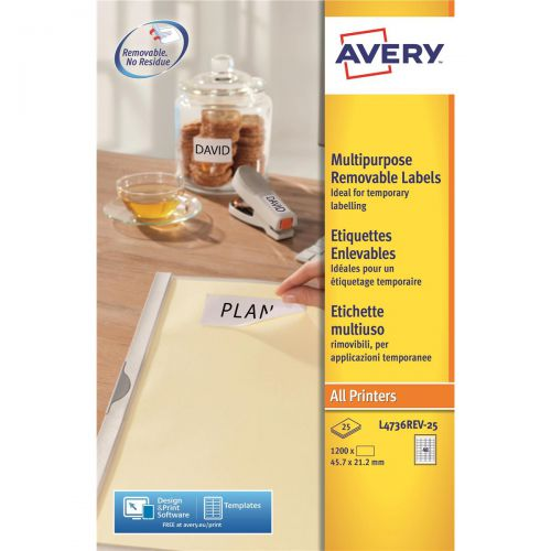Avery Mini Multipurpose Labels Removable Laser 48 per Sheet 45.7x21.2mm Wht Ref L4736REV-25 [1200 Labels]