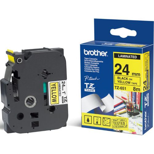 Brother P-touch TZE Label Tape 24mmx8m Black on Yellow Ref TZE651